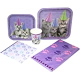 Blue Orchards Kitten Deluxe Party Packs (70 Pieces 16 Guests!), Kitten Party Decorations, Cat Birthday Supplies