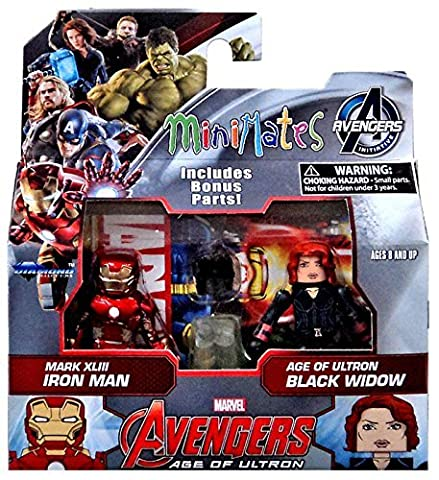 Marvel Avengers Age of Ultron Minimates Series 61 Iron Man & Black Widow Minifigure 2-Pack by Diamond (Marvel Minimate Black Widow)