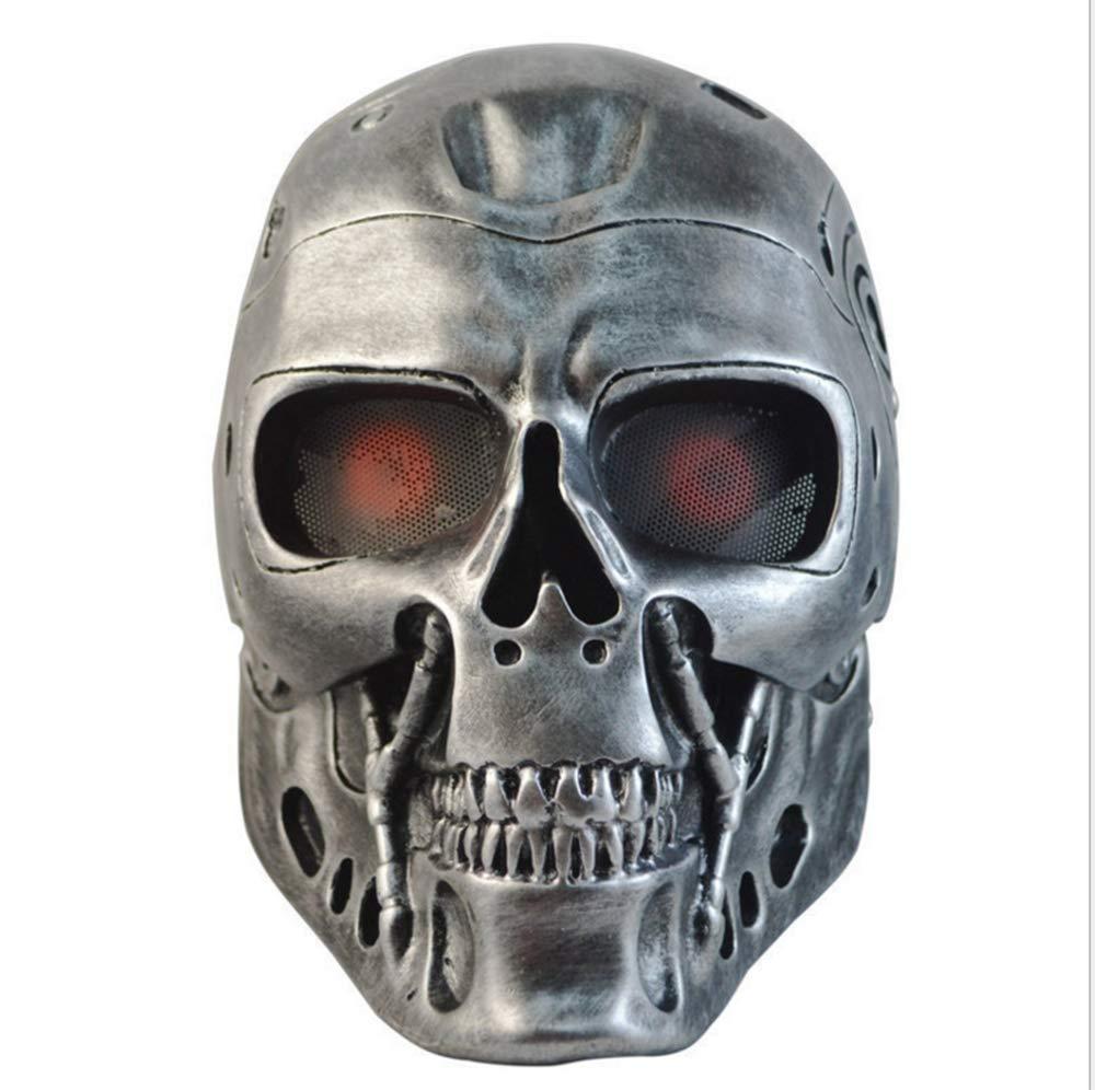 ZLD Halloween-Maske, Terminator-Roboter Maske, Horror-Schädel, CS-Feldmaske, Masken Harz, Horror-Dekoration, Gold, Silber