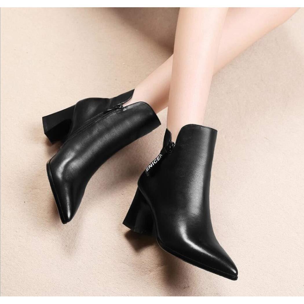 Zxcer Frauen Klassische Stiefeletten für Frauen seitlichem Heels Reißverschluss Kleid einfache High Heels seitlichem Faux Wildleder Schuhe Damen Stiefelies 61ecc0