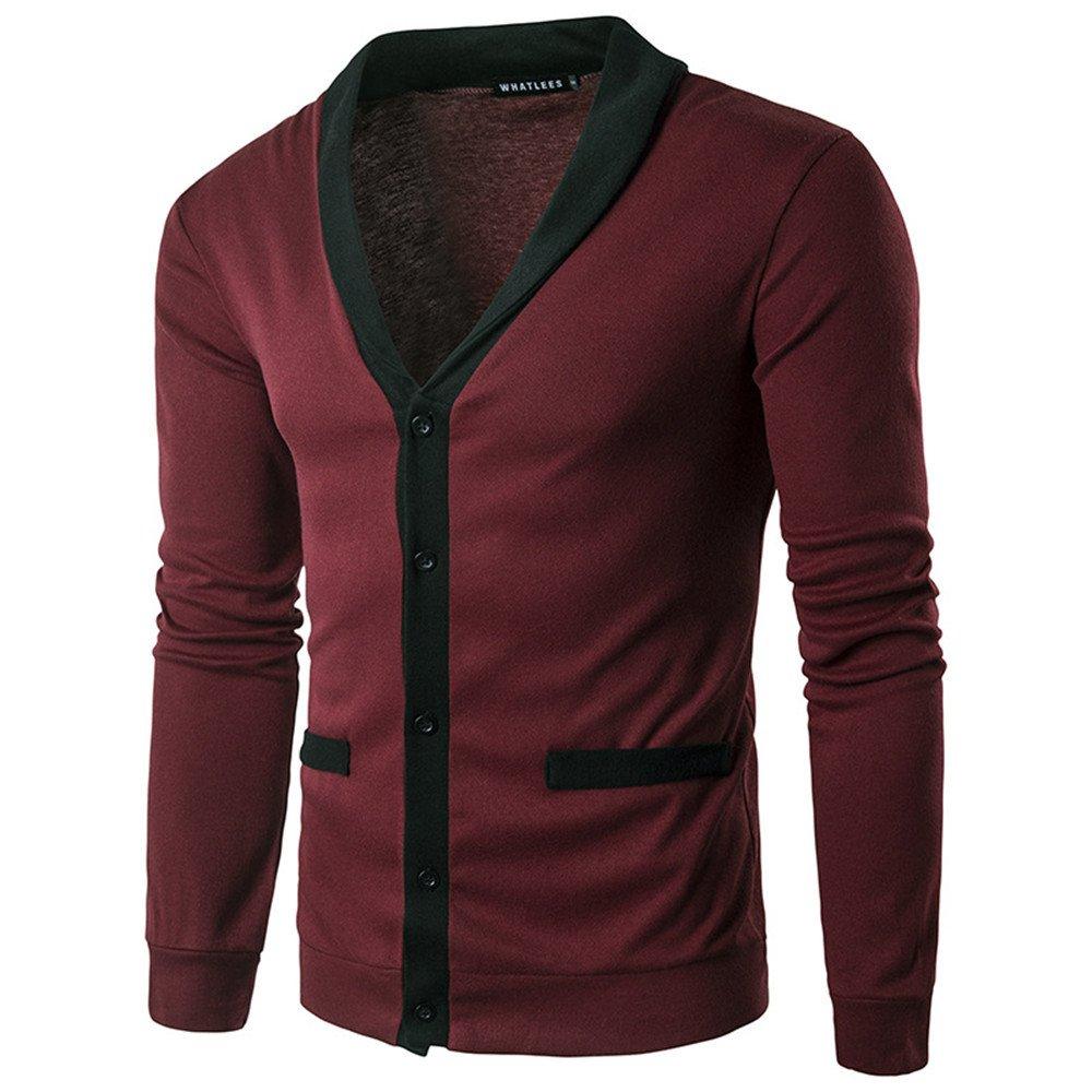 Gndfk männer - Pullover, Pullover, Europa - Chef der männlichen langärmliges Hemd Pullover,EIN Bordeaux - Wein,l