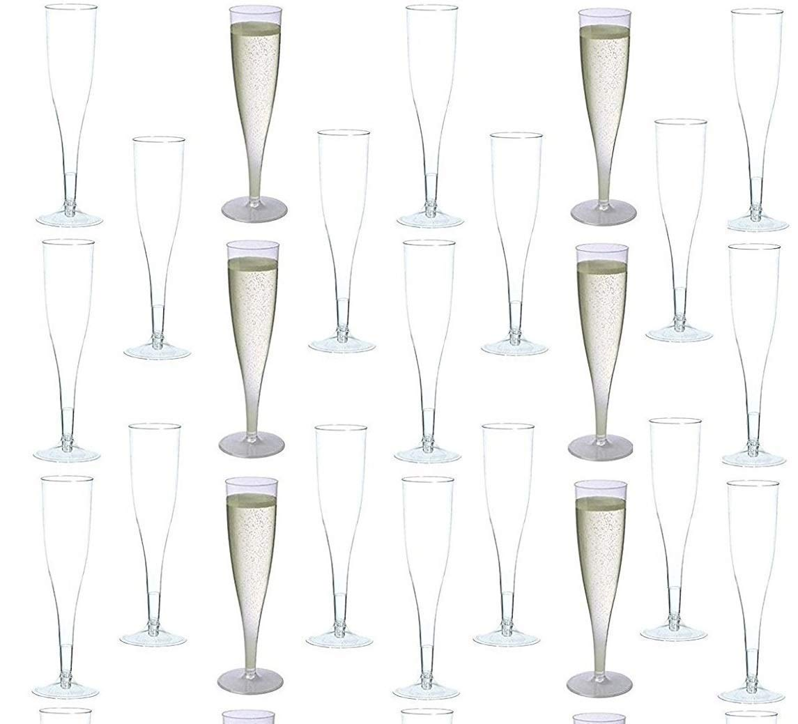 60 pc Clear Plastic Classicware Glass Like Champagne Wedding Parties Toasting Flutes 5.5 ounce