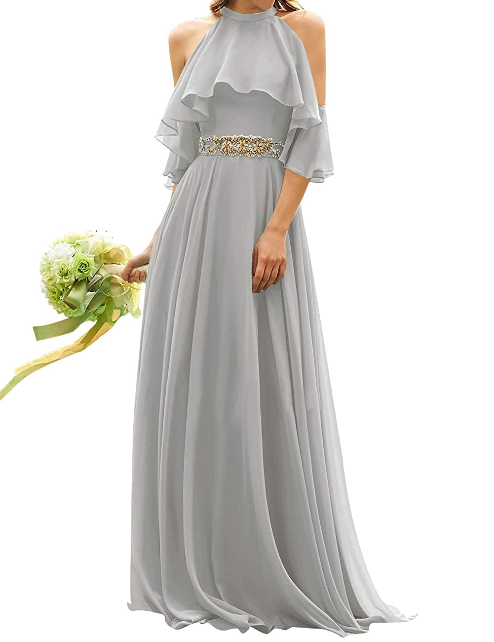 Silver Uther Long Bridesmaid Dress Cold Shoulder Beaded Ruffle Sleeves Wedding Party Dresses