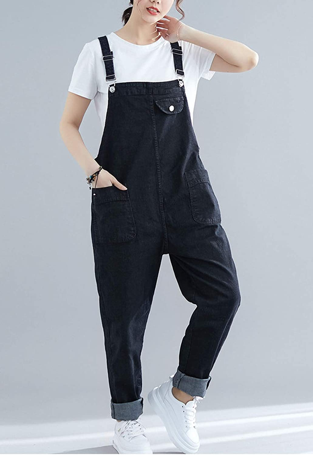 Flygo Womens Loose Baggy Plus Size Denim Jeans Overalls Jumpsuits