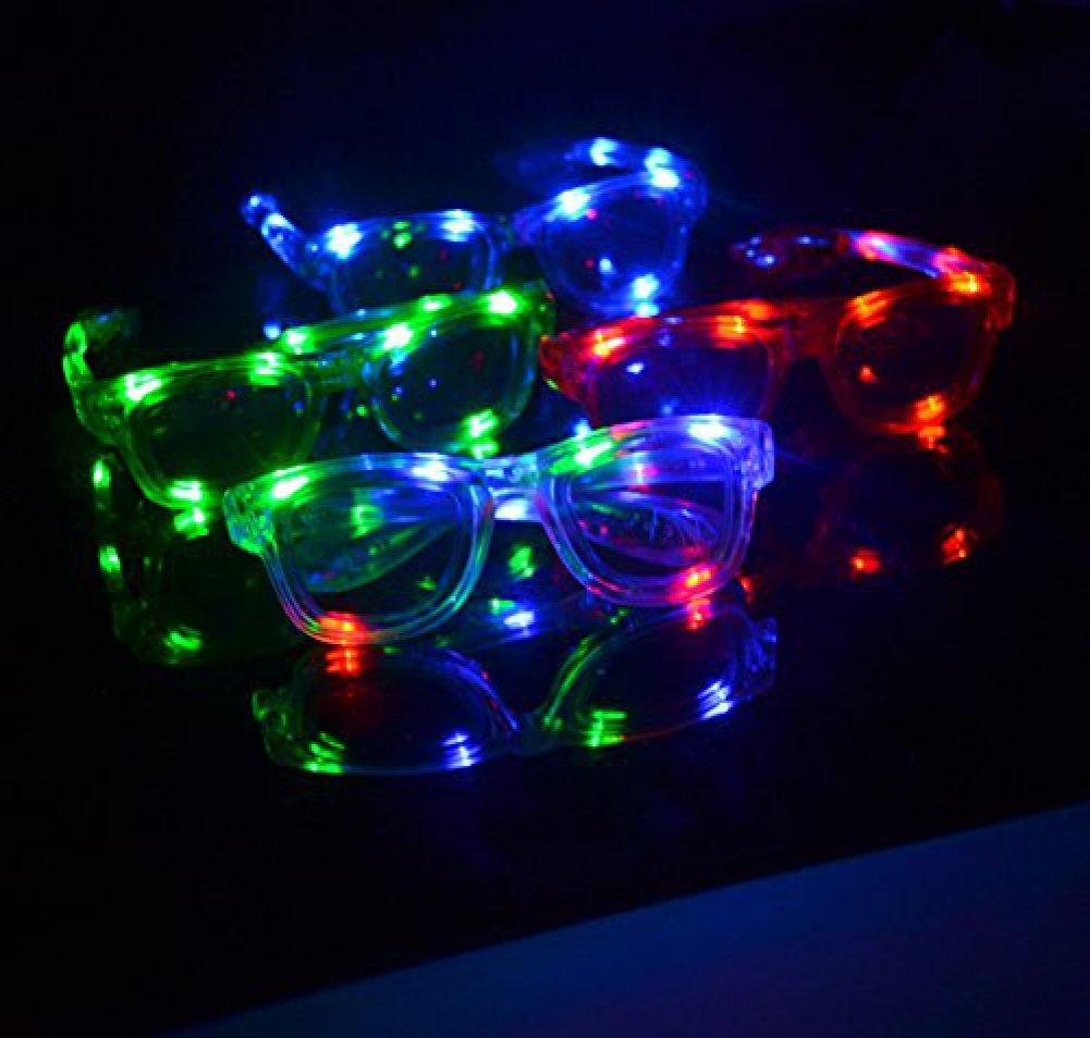 12 Pairs of LED Flashing Light Up Party Retro Aviator Glasses Shades