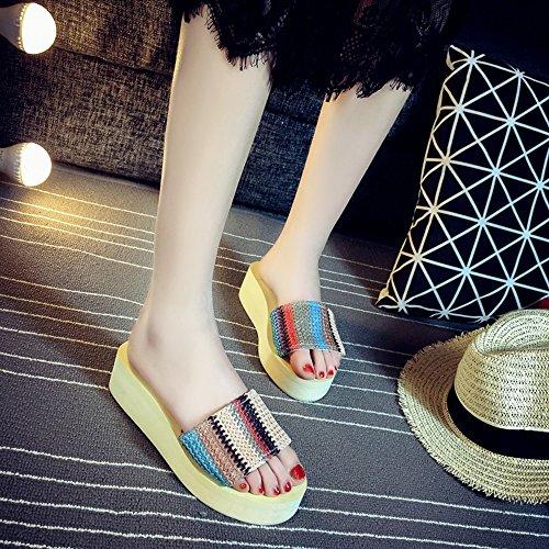 FEI Mädchen Sandalen Sommer-Mode-Pantoffeln Weibliche Anti-Rutsch-Sandalen Für 18-40 Jahre Alt Rutschfest ( Farbe : #1 , größe : EU37/UK4-4.5/CN37 ) #3