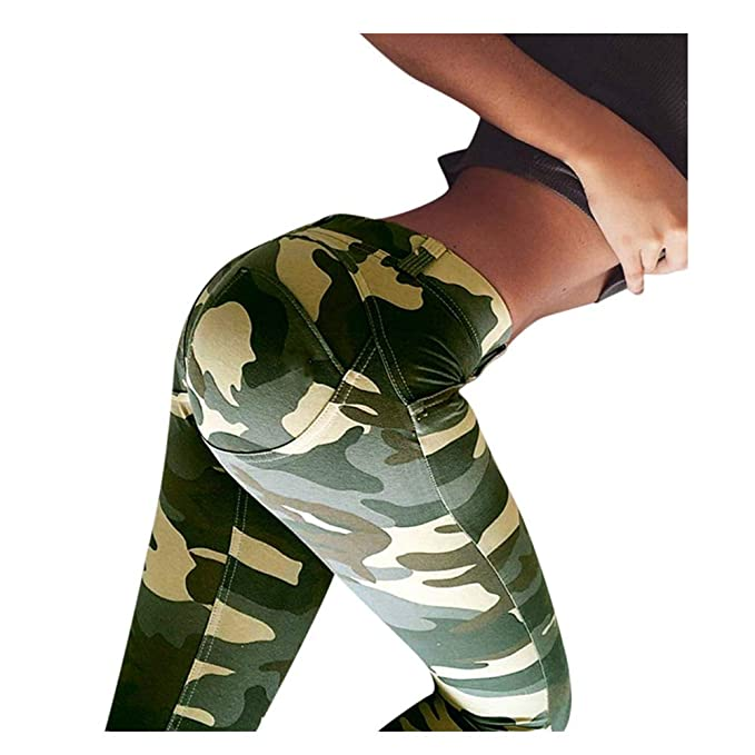 61415de0506e63 JOFOW Leggings Womens Camo Print Ruched Butt Yoga Pants High Waist Stretch  Skinny Sports Fitness Long
