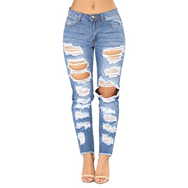 Yizhimei Ripped Jeans Women Moustache Effect Pants Chic Loose