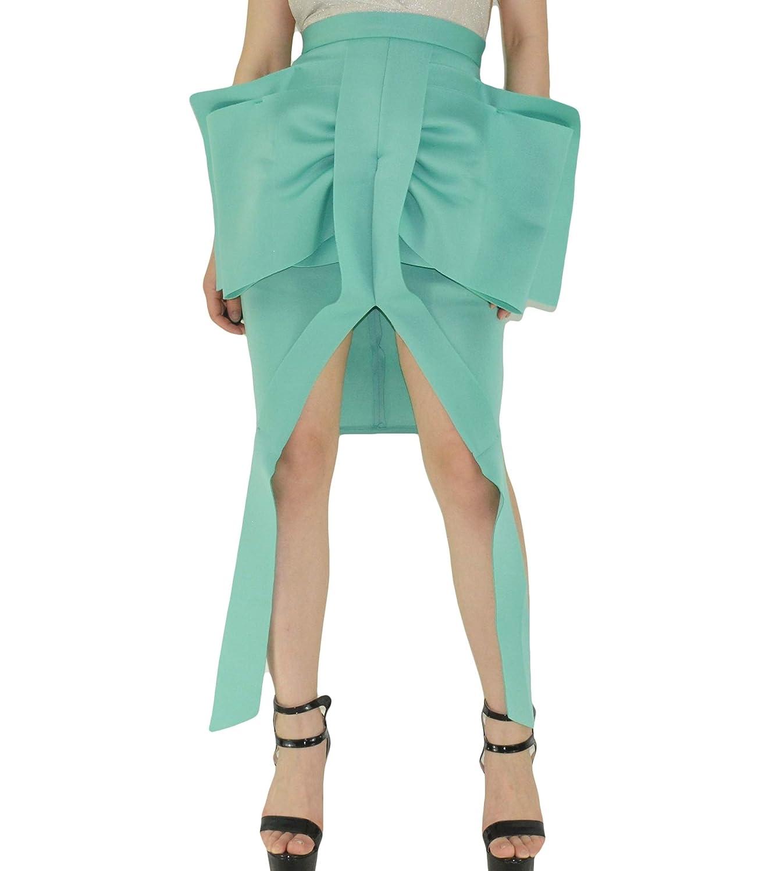 Bowknot bluee YSJ Women's High Waist Midi Skirt ALine Pleated Solid Vintage Swing Maxi Skirts