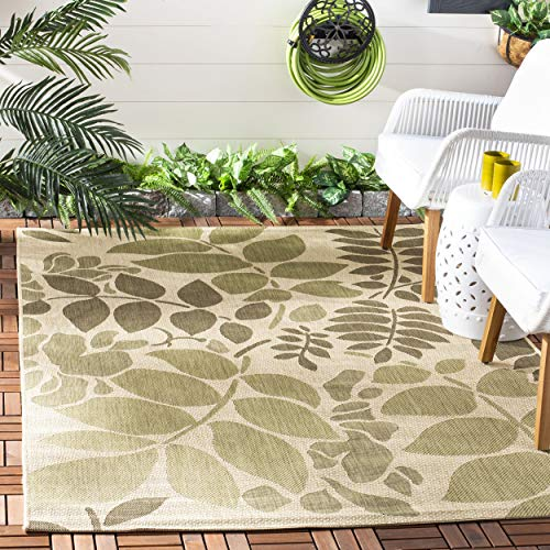 Safavieh Courtyard Collection CY7015-14A7 Cream and Green Indoor/ Outdoor Area Rug (4' x 5'7