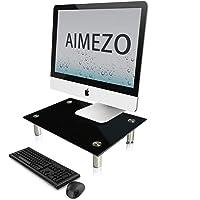 AIMEZO Medium Multimedia Desktop Stand -14.96 x 9.45 Inches - Black Glass | Monitor Riser, Laptop Stand, Desktop TV…