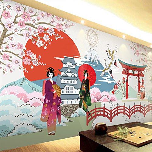 (430cmX300cm 3d Wallpapers Japanese Ukiyo-shi Pilgrims Retro Nostalgic Restaurant Seamless Mural Cooking Sushi Footwear Club Wallpapers,G)