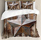 Primitive Country Decor 4 Piece Bedding Set Twin Size, Antique Rusty Star Figure on Weathered Wooden Planks Vintage Home Image, Duvet Cover Set Quilt Bedspread for Childrens/Kids/Teens/Adults, Brown