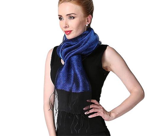 Donna Brillante Colore Solido 50% seta 50% Lurex Partito Stole Scialli Sciarpe Wrap Con Frange(Blu)