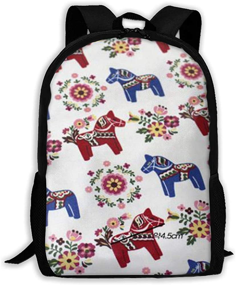 Mochila para computadora portátil liviana,mochilas para exteriores,mochila informal,mochila de viaje para adultos/niños,bolso de hombro escolar estampado Floral Dala sueco Caballos para hombres mujere