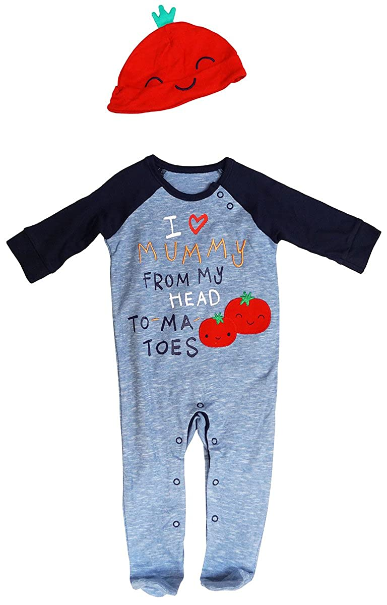 Boys Baby Mummy to-Ma-Toes All in One Romper & Tomato Hat Set Sizes from 6 to 18 Months