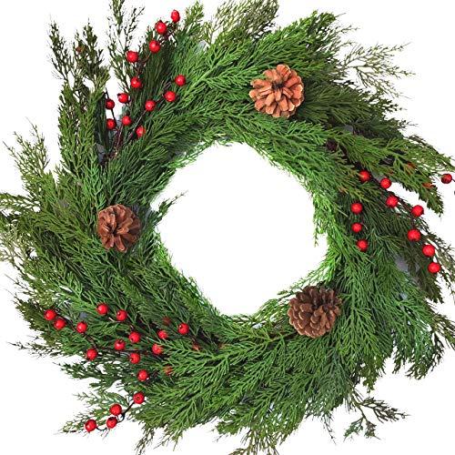 Winter Door Wreath Artificial Cedar Wreath for Lodge Or Farmhouse Decorating Rustic Natural Looking Evergreens Red Berries Pine Cones Will Fit in Between Storm Doors 22 Inch Diameter 3.5 Inches Deep (Cedar Wreath)