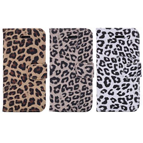 Mxnet Patrón de impresión de leopardo horizontal Flip caja de cuero con ranuras para tarjetas y soporte para iPhone 6 y 6S Fundas ( Color : Brown ) Brown