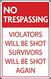 product image for No Trespassing Metal Sign, Trespassers Will Be Shot Sign, Survivors Will Be Shot Again Sign, Rustic Metal Steel Sign Home Decor Garage Art Wall Art Funny Sign Great Gift