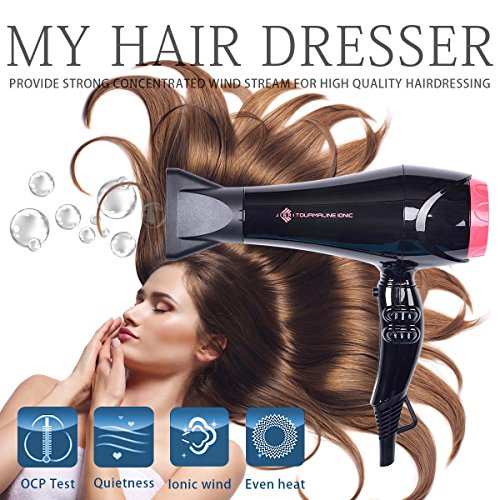 JINRI Professional 1875 Watt Hair Dryer 2 Speed and 3 Heat Settings Tourmaline Ceramic Negative Ionic Long Life AC Motor Salon Blow Dryer, Black