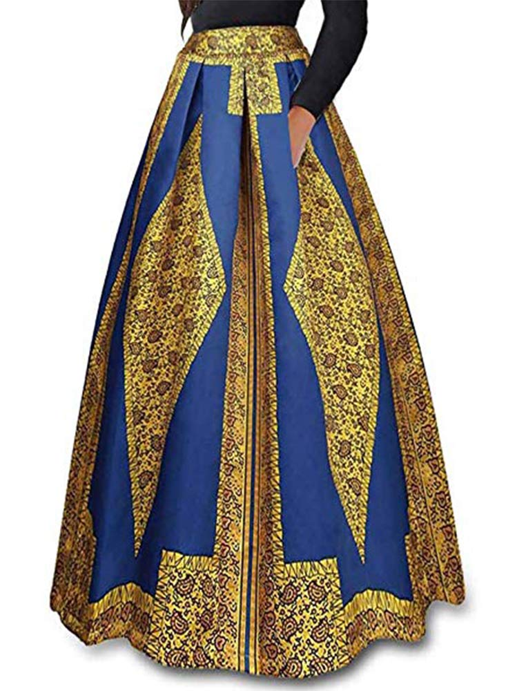 RED DOT BOUTIQUE 930 - Plus Size Ethnic African Print Long Maxi Skirt