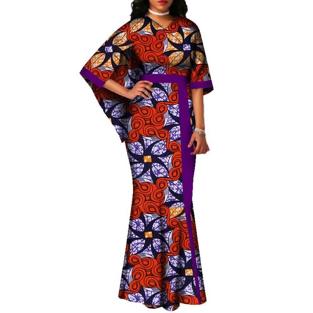 24fs1080 BintaRealWax Womens Wedding Party V Neck Cape Sleeve African Print Mermaid Dresses Gown