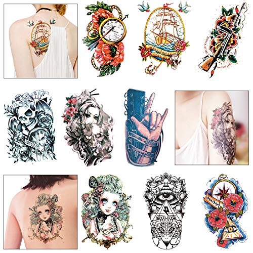 Temporary Tattoos Paper Half Arm - Fake Tattoo Stickers For Women Men Adults Body Art(Pack of 9) ()