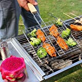 Autumn Water Steel BBQ Grilling Net Mesh Fish Clip Barbecue Net with Wood Handle Non-Stick Steak Corn Vegetable BBQ