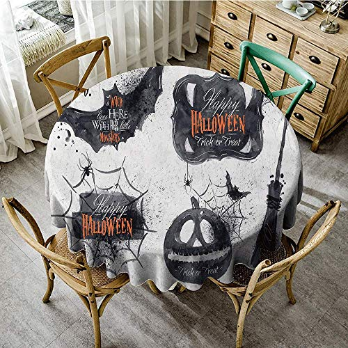 DONEECKL Round Tablecloth Vintage Halloween Halloween Symbols Happy Holiday Witch Lives Here Broomstick Spider Web Picnic D35 Black White (Broomstick Skirt Multi)