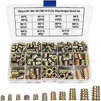 KAMIIN 230 stuks inschroefmoeren, M4, M5, M6, M8, M10, zinklegering binnenzeskant moer met afdekrand, aandrijfmoer…
