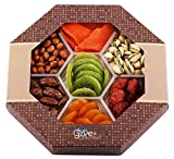 GIVE IT GOURMET, Assorted Dried Fruits and Nuts Holiday Gift Basket (7 Section) - Variety of Delicious dry Mango, Plums, Apricots, Kiwi, Honey Glazed Pecans, Peanuts and Roasted Salted Pistachios - |
