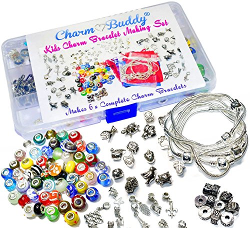 Girls Kids 6 x Charm Bracelet Jewellery Making Kit Birthday Party Gift Bead Set