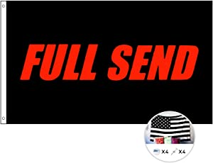 Full Send Flag,Nelk Boys Cool Flag,3x5 Feet Banner Poster with Brass Grommets,Polyester Cloth UV Resistance Fading & Durable Flag for College,Fraternities,Parties,Games,Gift,Dorm Room Decor (Black)
