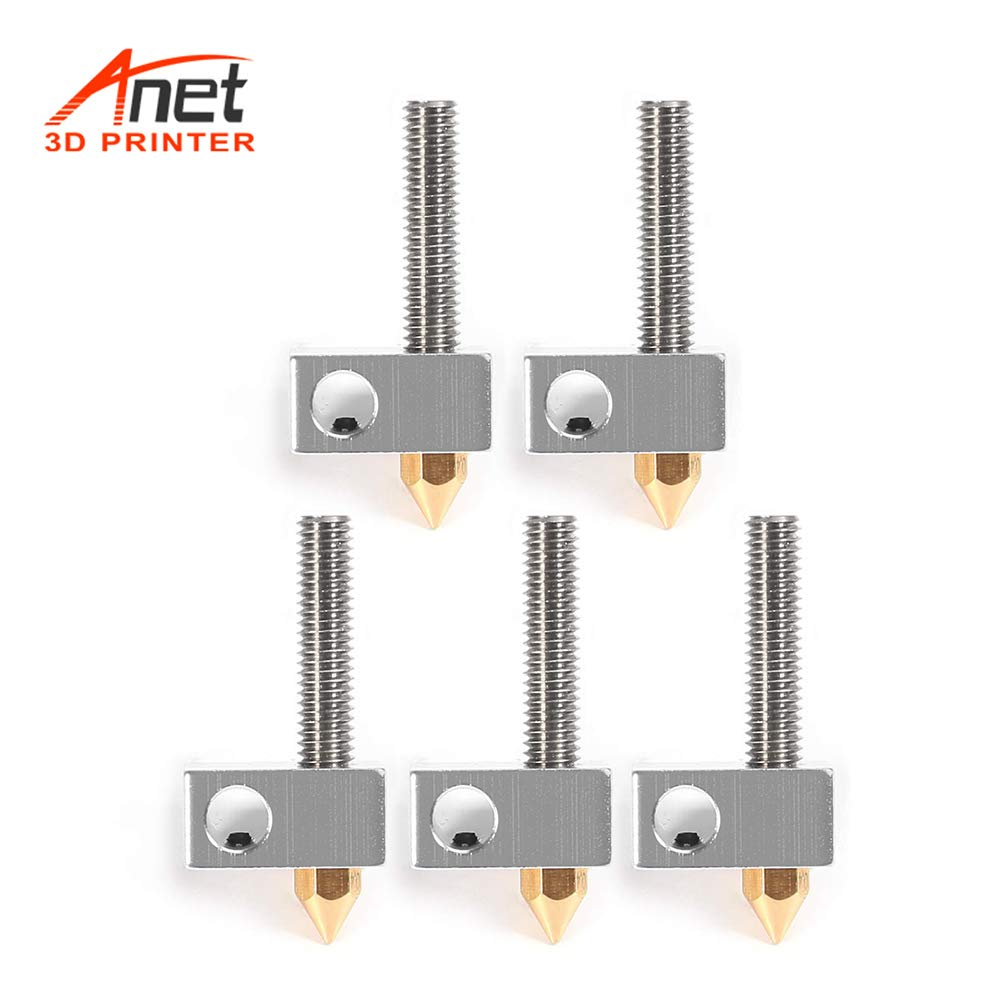 Heater Block Hotend 1.75mm Throat Tubes Pipes for Anet A8 A6 Ender 3 3D Printer Accessories Aibecy Anet 6Pcs//Set 0.4mm Brass Nozzle Extruder Print Head