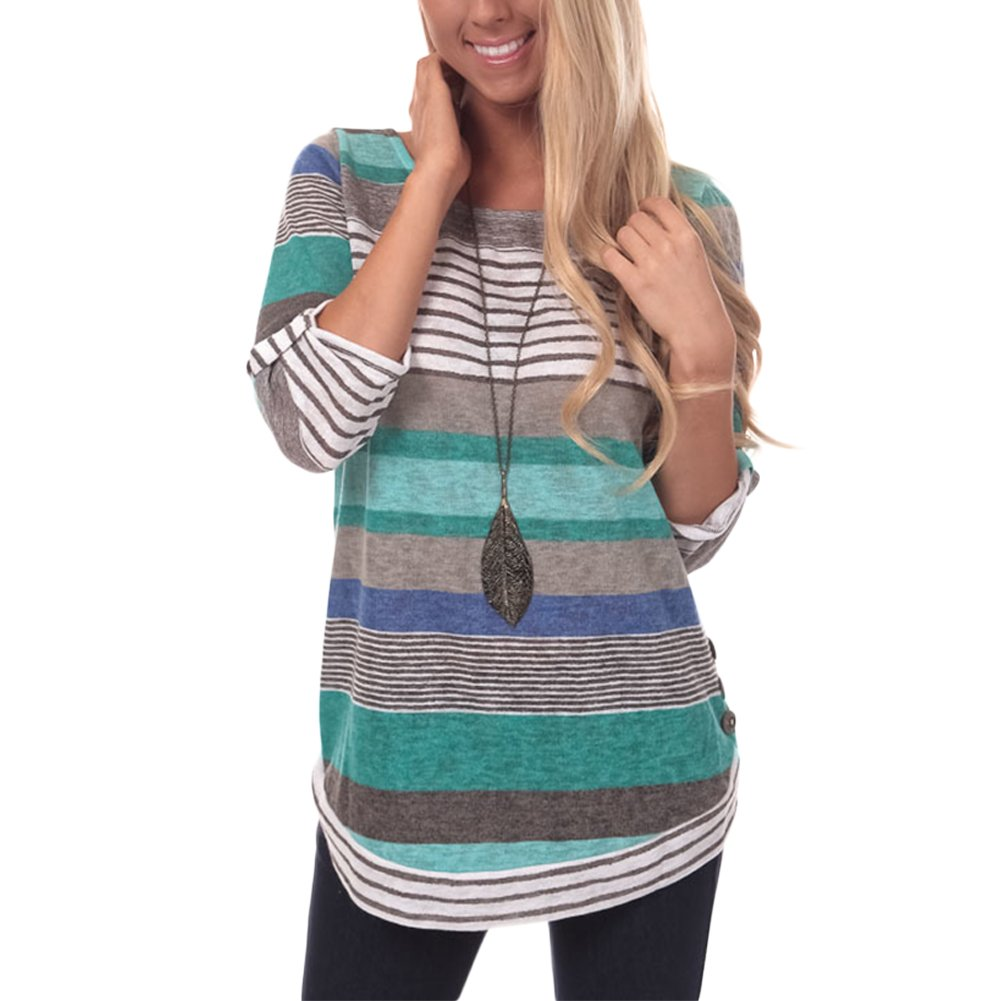 HUHHRRY Long Sleeve Baseball Tee Shirt Crew Neck Colorblock Striped Tops, Cyan Color Striped, Medium