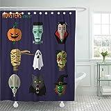 Emvency Fabric Shower Curtain Curtains With Hooks Orange Flat Halloween Monster Of Pumpkin Ghost Dracula Zombi