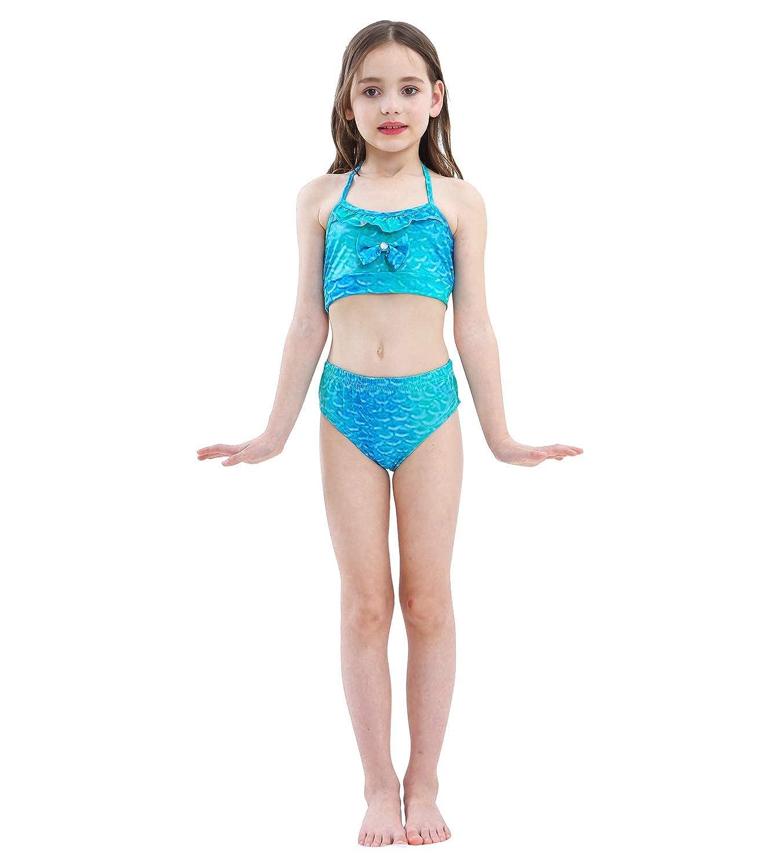 HiFunBay Ragazze Coda da Sirena con Monopinna per Nuotare Costume da Bagno Incluso 5 PCS Bikini e Fiore Garland Archetto