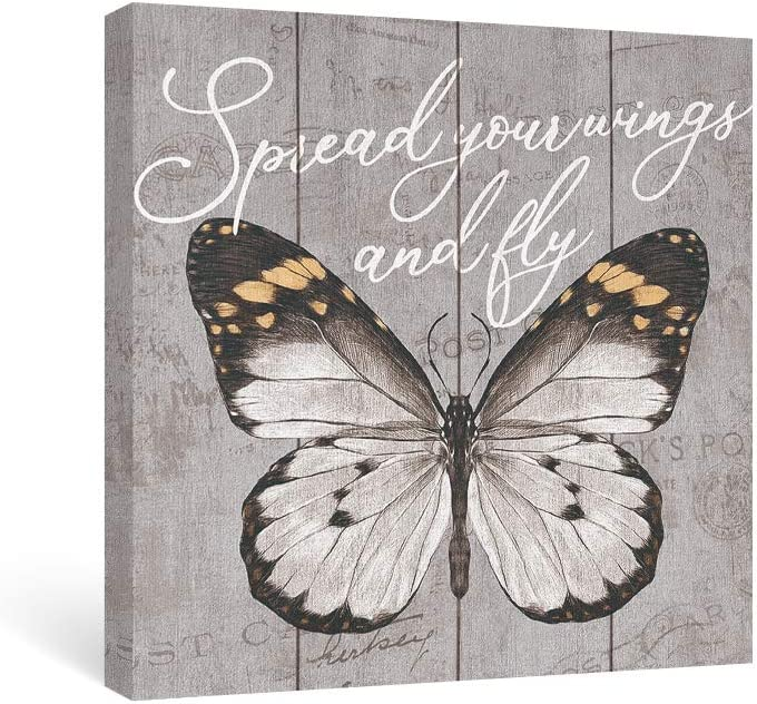 takfot Butterfly Wall Art Inspirational Grey Canvas Paintings Quote Picture with Saying Framed Rustic Motivational Artwork for Bedroom Office Living Room 12x12 Inch, Spread Your Wings and Fly