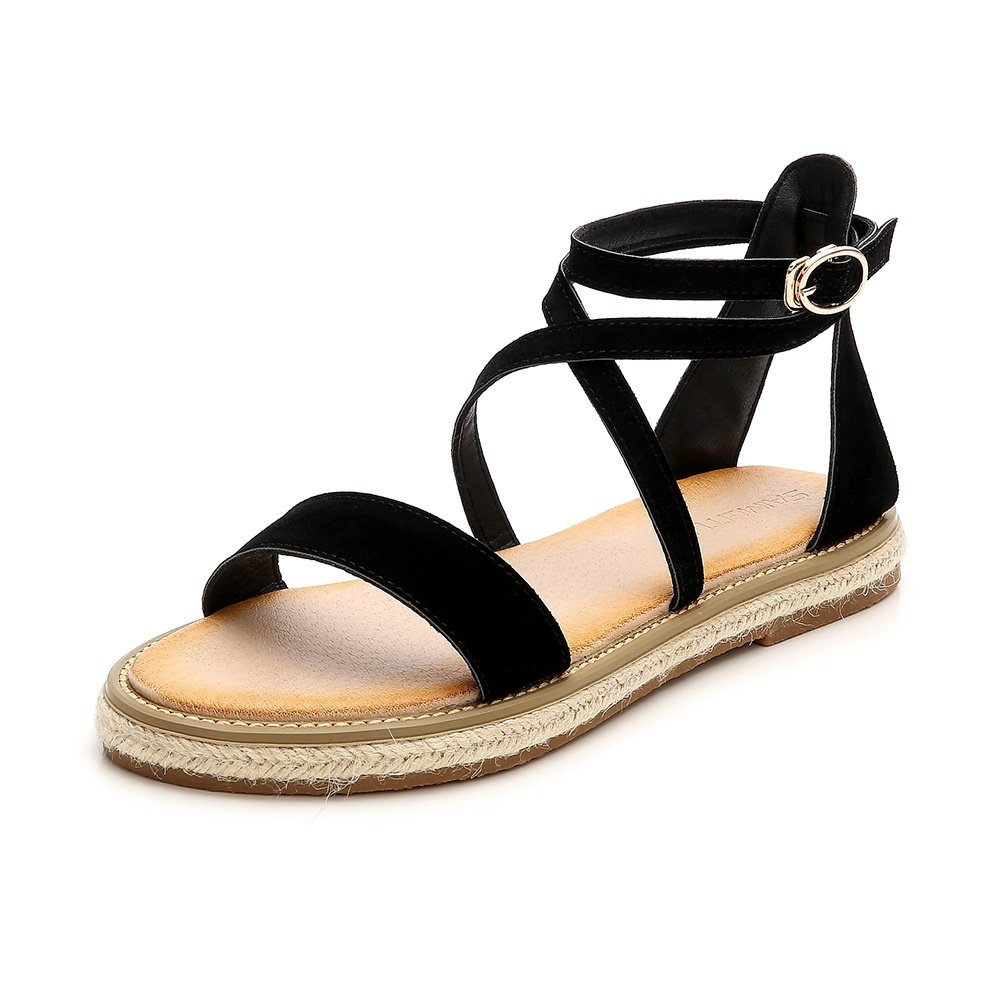 Wollanlily Women Roman Style Gladiator Sandals Ankle Strap Espadrilles Side Summer Flats Shoes Black-01 US 9