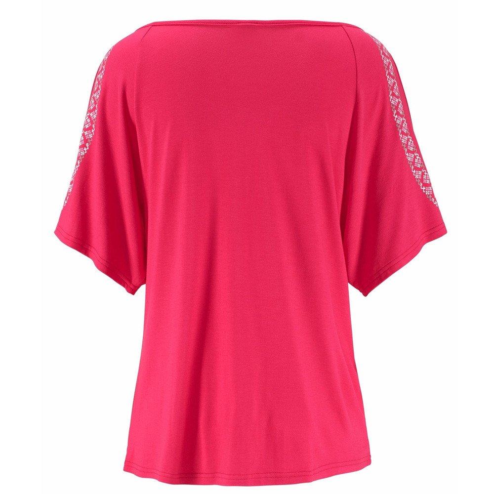 Close-dole Women Summer Print Off Shoulder V-Neck Short Sleeve T-Shirt Loose Shirt Casual T-Shirt Tops Shirts for Women