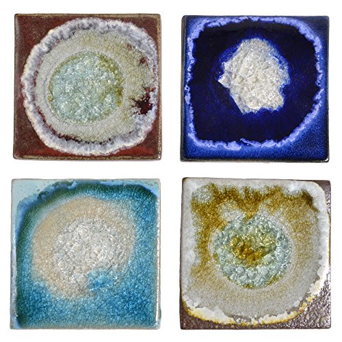 Red Tile Coaster - Dock 6 Pottery Coasters with Fused Glass, Mixed Colors, Set of 4