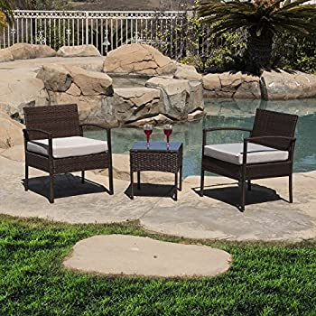 This Item Belleze 3 PC Rattan Patio Furniture Set Wicker Garden Lawn Chair  Cushioned Seat Coffee Table, Brown