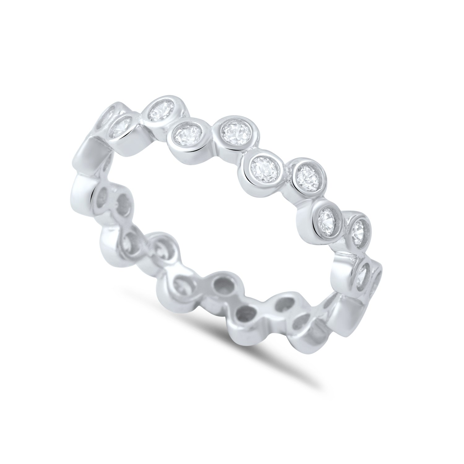Sterling Silver Cz Stackable Bubbles Eternity Ring - Size 7