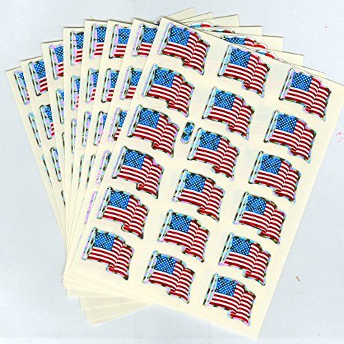 American Flag Prism Stickers - 144, each 1 1/8
