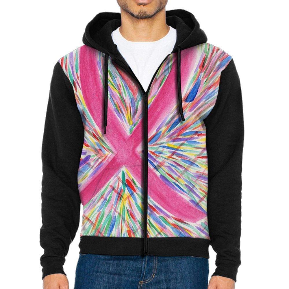 GOQWM Pink Ribbon Bookmarkoriginal Artwork Mens Casual Striped Drawstring Hooded and Zipper Closure Hoodie