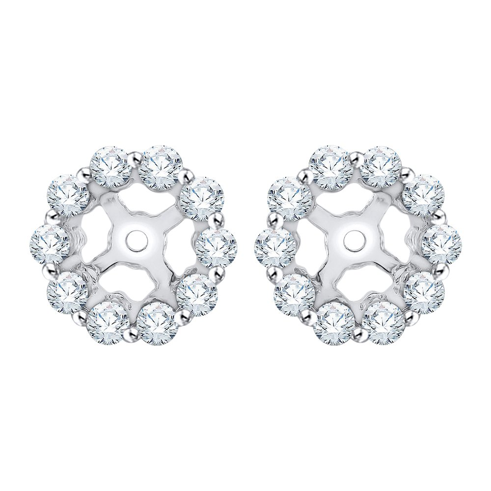 Diamond Earring Jackets in 14K White Gold (3/8 cttw) (Color IJ, Clarity I1)
