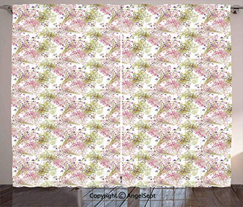 AngelSept Darkening Window Curtains Printed,Bunches of Wild Flowers Encoloured with The Style of Watercolor Vintage Inspirations,for Living Room 2 Panels,Multicolor,W120 x L108