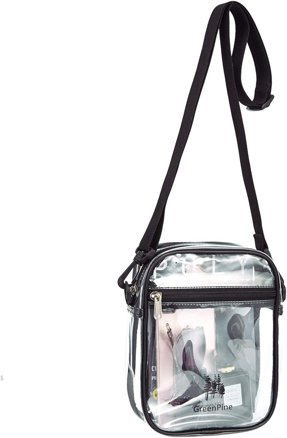 Premium Clear Bag Clear Tote Bag with Cross Body Messenger Adjustable Shoulder Strap for Women and Men