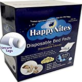 HappyNites Disposable Incontinence Bed Pads - Nitrile Gloves, 1500ml High Absorbency Disposable Underpads Bed Liner Mats, Waterproof Mattress Pad Protector for Adults and Kids (40Pack with Gloves)