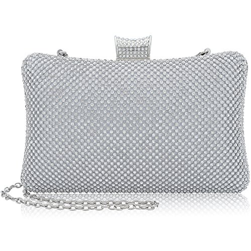Clutch Women's Handbag Lady Party Crystal Evening Bags Silver - 3